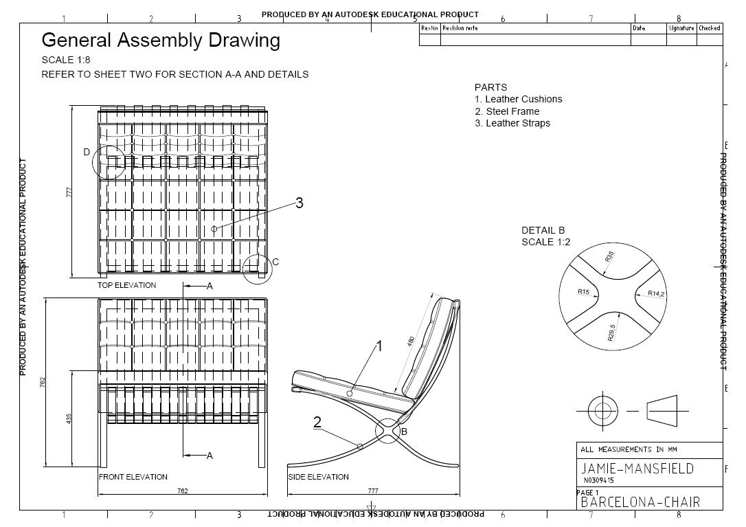 06 05 2011 Barcelona Chair An Autocad Drawing Sheet 1